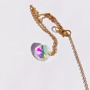 Iridescent Crystal Gold Choker Necklace